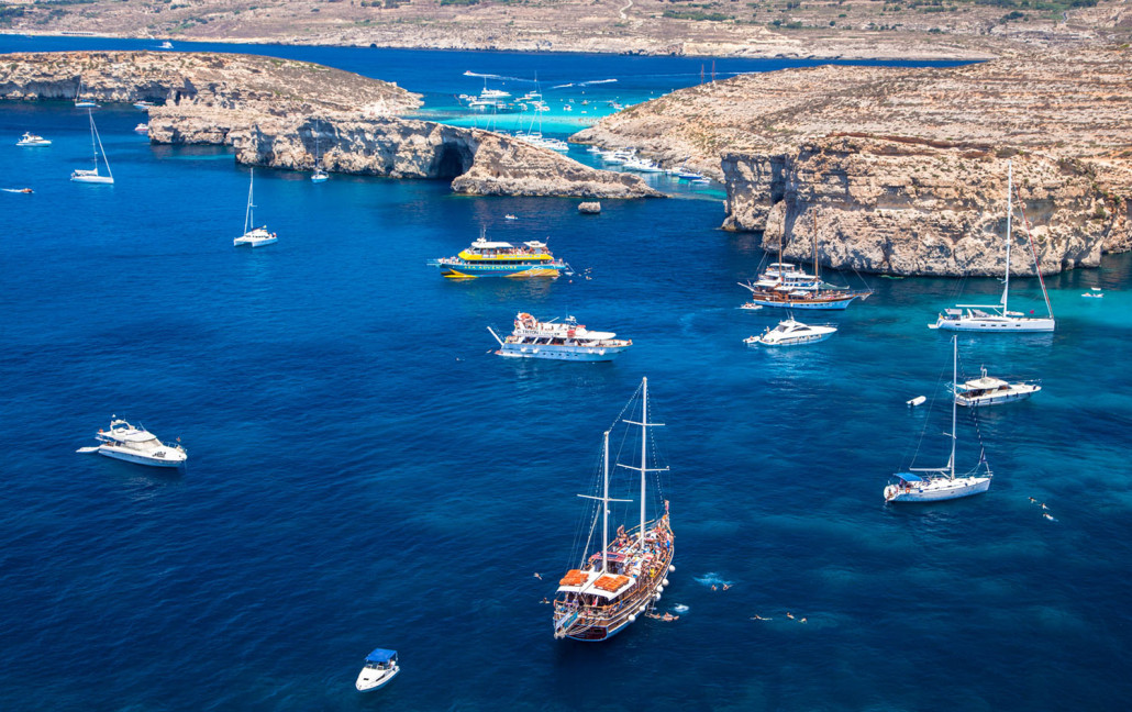 COMINO MALTA - JULY 16: Ship at Blue lagoon at island Comino - Malta on July 16 2015 in Comino